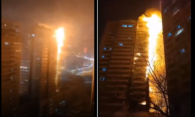 Huge fire broke out in a residential building in NE China's Shenyang.