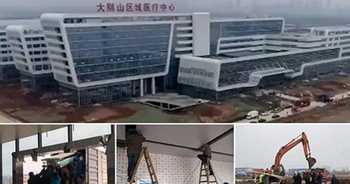 Hundreds of heavy-duty vehicles and armies of workers are gathered overnight as China vows to build a 1,000-bed coronavirus hospital from scratch in ONE WEEK
