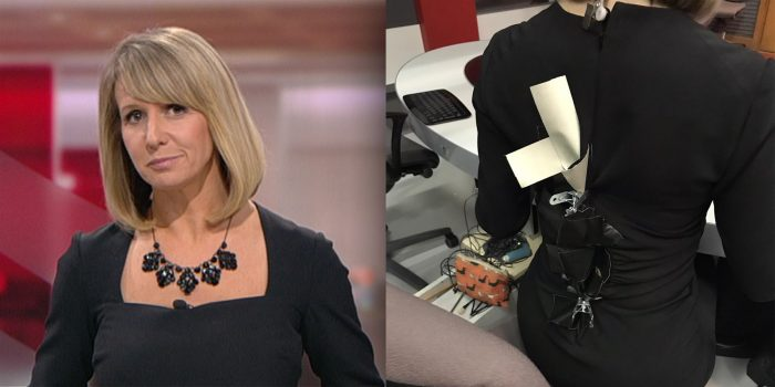 BBC presenter, 43, holds dress together with gaffer tape after it BURSTS OPEN moments before she goe