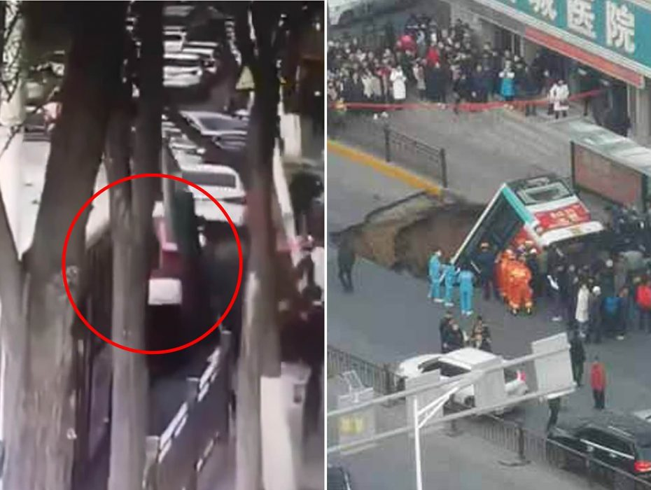 At least nine people are killed after a bus full of passengers was swallowed by a huge sinkhole in the rush hour in China