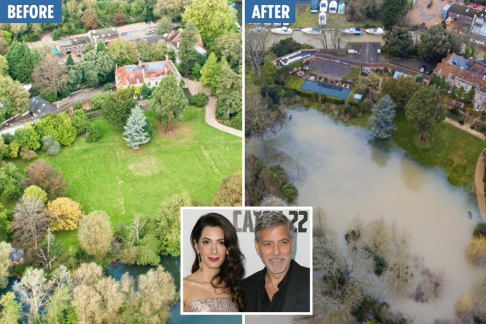 George and Amal Clooney's mansion is surrounded by flood water: £12m Grade-II listed home becomes submerged after Storm Dennis